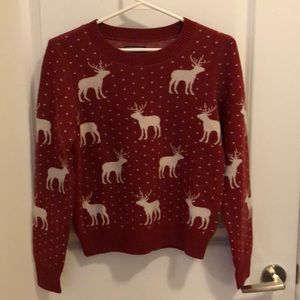 Abercrombie red moose sweater size S